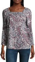 Liz Claiborne 3/4 Sleeve Square Neck Knit Floral Blouse