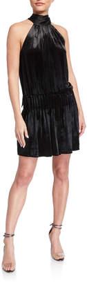 Ramy Brook Paige Velvet Gathered Tie-Neck Cocktail Dress