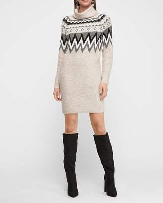 Express Cozy Fair Isle Turtleneck Shift Sweater Dress