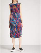 Issey Miyake Double Stream abstract-print pleated dress