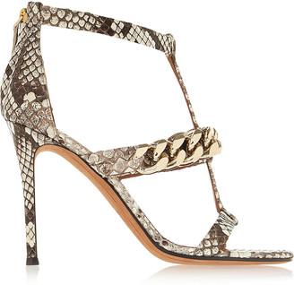 Givenchy Python Sandals With Gold Chain