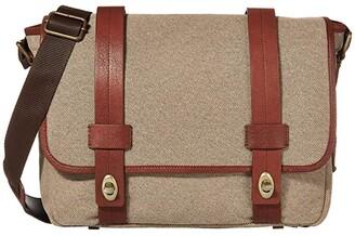 Bosca RFID Canvas/Washed Messenger Bag (Khaki/Brown) Handbags