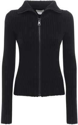 Bottega Veneta Zip-up Wool Knit Cropped Sweater