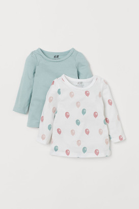 H&M 2-pack Puff-sleeved Tops - Turquoise