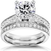 Ice 2 1/3 CT DEW Moissanite Polished 14K White Gold Bridal Set with Diamond Accents