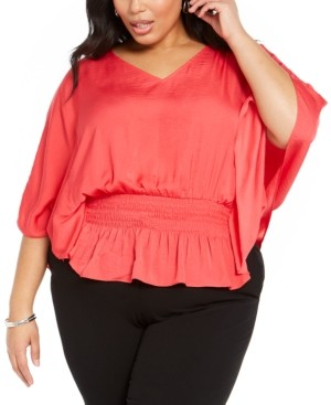 Alfani Plus Size Smocked Top, Created for Macy's