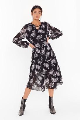 Nasty Gal Womens Let the Grow Begin Floral Midi Dress - black - 6