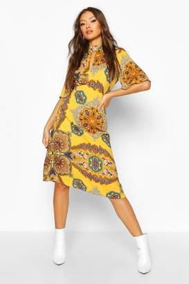 boohoo High Neck Paisley Print Midi Dress