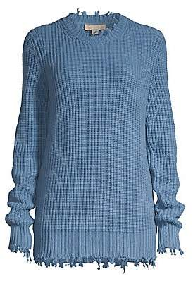 Michael Kors Women's Distressed Shaker Knit Cashmere Pullover Sweater