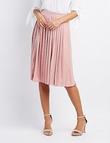 Charlotte Russe Shimmer Pleated Midi Skirt