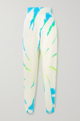 The Elder Statesman Cyclone Tie-dyed Cashmere Track Pants - Ivory