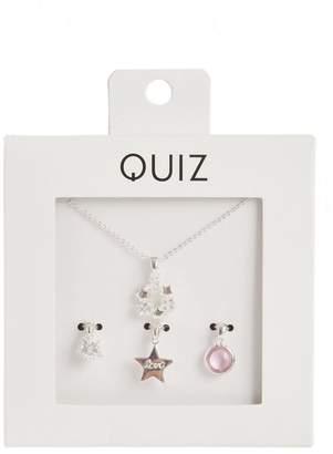 Quiz Silver Plated Diamante Star Pendant Necklace