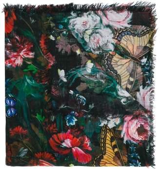 MonnaLisa floral frayed shawl