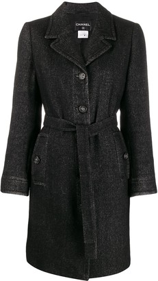 Chanel Pre Owned 2010 Belted Tweed Coat