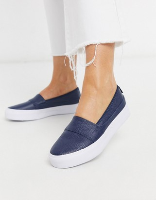 Lacoste marice leather slip on sneakers in navy