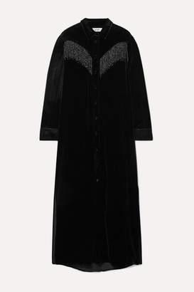 BLAZÉ MILANO Etoile Colorado Fringed Velvet-jacquard Midi Dress - Black