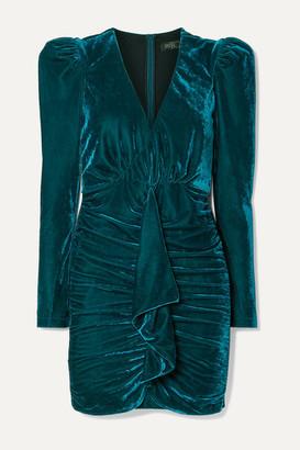PatBO Ruched Draped Stretch-velvet Mini Dress - Teal