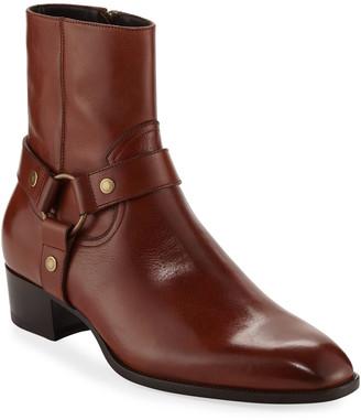 Saint Laurent Wyatt Leather Harness Boot