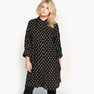 La Redoute Collections Plus Draping Tunic Shirt in Polka Dot Print