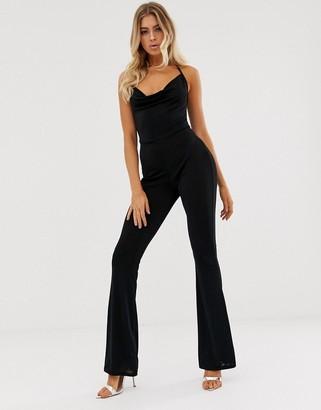 In The Style Slinky Halterneck Jumpsuit-Black