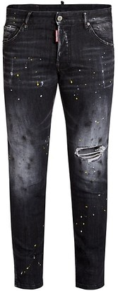 DSQUARED2 D-64 T Skater Distressed Paint Splatter Jeans