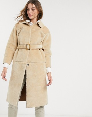 Topshop borg midi coat with belt in cream