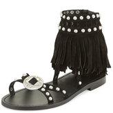 Ash Mary J Suede Fringe Sandals, Black