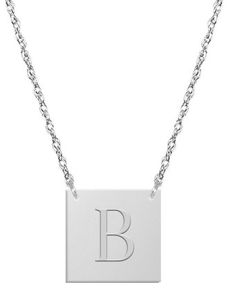 Jane Basch 14K Block Initial Square Necklace (A-Z)