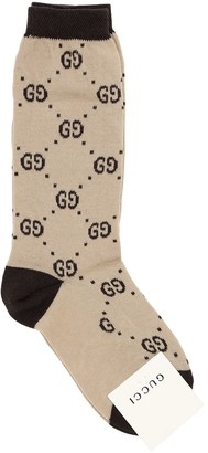 Gucci Logo Intarsia Cotton Blend Knit Socks