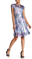 Komarov Cap Sleeve Keyhole Flared Dress