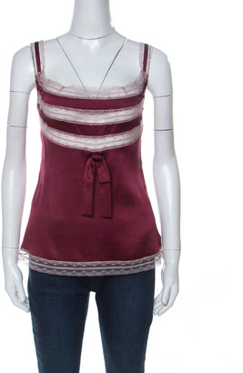 RED Valentino Maroon Stretch Silk Lace Camisole M