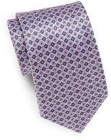 Saks Fifth Avenue Neat Floral Medallion-Print Silk Tie