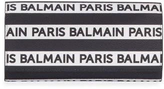Balmain Logo Stripe Leather Wallet On Chain