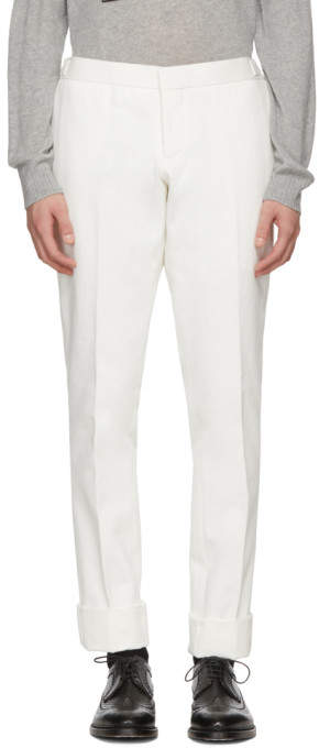 Thom Browne White Denim Unconstructed Low-Rise Trousers