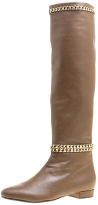 Le Silla Brown Leather Chain Detail Knee High Boots Size 38