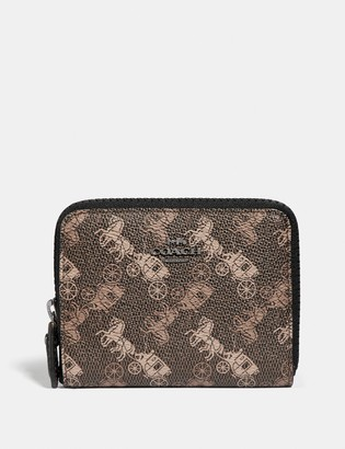 Coach Small Zip Around Wallet With Horse And Carriage Print