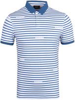 Armani Jeans Blue & White Stripe Short Sleeve Pique Polo Shirt