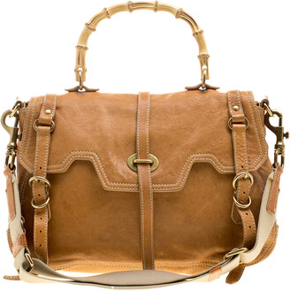 Miu Miu Camel Leather Bamboo Handle Satchel
