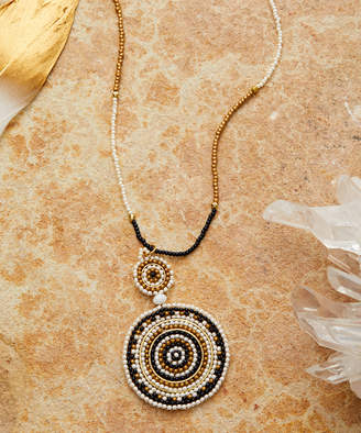 Zad ZAD Women's Necklaces black/white - Black & White Beaded Round Pendant Necklace