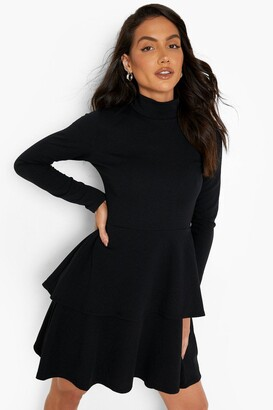 boohoo Crepe Long Sleeve Tiered Skater Dress