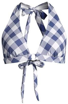 Shoshanna Textured Check Halter Bikini Top