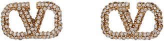Valentino Gold Garavani Crystal VLogo Stud Earrings