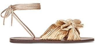 Loeffler Randall Peony Ankle-Wrap Knotted Metallic Sandals