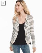 White House Black Market Petite Striped Mix Stitch Sweater Jacket