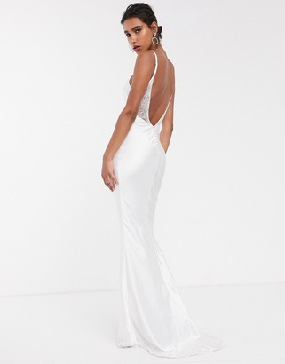 Asos Edition EDITION satin cami wedding dress with train-White