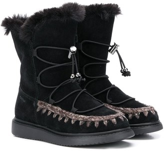 Geox Kids Fur Lace-Up Boots