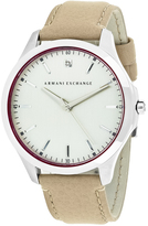 Giorgio Armani Exchange Classic AX2183 Men's Beige Leather and Stainless Steel Watch with Diamond Accent
