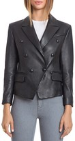 BAGATELLE.CITY Lamb Leather Double Breasted Blazer