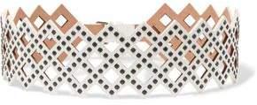 Alaia Studded Laser-cut Leather Waist Belt
