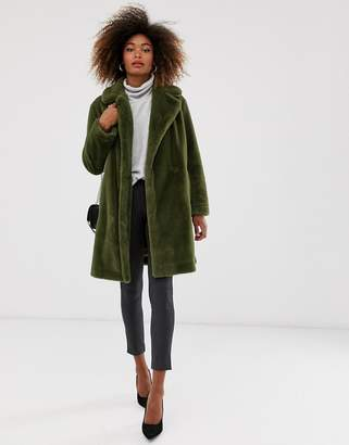 French Connection faux fur long coat